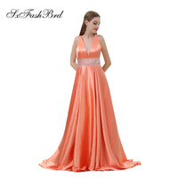Elegant Girls Dress Sexy V Neck Open Back A Line Satin Long ...