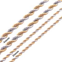 Largura 2mm e 4mm de Aço Inoxidável Corda Cadeia Colar de Ouro Declaração de Ganhos Aço Inoxidável 316L Trançado Colar de Corrente de Ouro