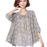 Autumn Women Blouses And Tops 2017 Loose Linen Cotton Blouse...