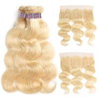 Ishow Brasileño Body Wave Human Hair Bundles Extensions 3pcs con encaje Cierre frontal 613 Color rubio para mujeres Todas las edades 10-30 pulgadas