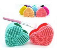 8 cores forma de coração pincel de maquiagem limpador de silicone ferramenta de limpeza cosméticos escova de ovo escova de lavagem brushegg pad escova de cosméticos de limpeza quente