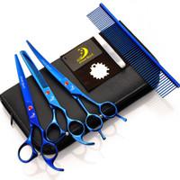 3 Adet Makas Kuaförlük Araçları 7.0 inç Pet Makas Kitleri Saç Kesme Jilet Kombinasyonu Paket Saç Şekillendirici Makas Saç Kesme Aracı