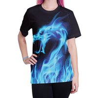 Venta exprés en el extranjero, venta caliente, explosiva camiseta de cuello redondo de manga corta de verano 2018, impresión digital 3D de dragón de llamas hembra