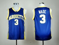 Neue Marquette Dwyane Wade College-Basketball-Trikots Herren Dwyane # 3 Wade Navy Blue Genähte University-Basketball-Trikots S-XXL