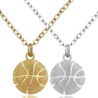 Gorąca sprzedaż koszykówki wisiorek sporty naszyjniki złote posrebrzane łańcuchy ze stali nierdzewnej dla kobiet mężczyźni moda biżuteria akcesoria