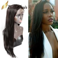 Proste brazylijskie włosy bezklejowe pełne koronkowe peruki dla czarnych kobiet 10-24 cali naturalny kolor koronki długie peruki Ludzkie włosy Bellahair 130% 150%