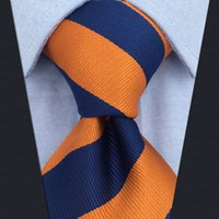 E27 Navy Orange Striped Silk Mens Necktie Wedding Dress Ties for male Brand New Classic Hanky Extra long size