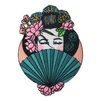 La bella zona giapponese del ricamo di geisha per i jeans dei vestiti insacca il ferro sulla toppa 3.9 * 2.75 pollici Trasporto libero