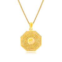 Ton doré pendentif tai-chi symbole de la balance de potins symbole Yin Yang Split collier chaîne pour hommes ou femmes
