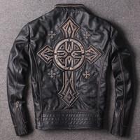 2017 Штампованные Criss-Cross старинные скорби из натуральной кожи куртки мотоциклетные мужские куртки продажа