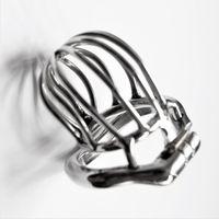Giocattoli del sesso del dispositivo di castità maschio dell'acciaio inossidabile della gabbia di castità di serratura di furtività per gli uomini Cazzo del blocco del pene con l'anello del Anti-Spike