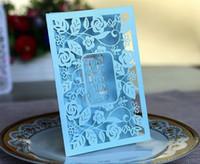 Azul marino Azul Impresas de invitaciones de boda Tarjetas con hueco Out Rustic Láser Corte Tarjeta de invatación Flores Fiesta elegante Invitaciones