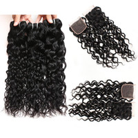 Wholesale Brazilian Water Wave Bundles with Closure 8A Brazi...