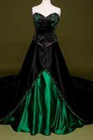 진한 녹색 새로운 화려한 자수 이브닝 드레스 블랙 새틴 긴 파티 가운 크리스탈 럭셔리 사용자 정의 만든 놀라운 구슬 연인