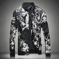 Mode Marke Kleidung Herren Herbst Slim Fit Schwarz Bomberjacke Männer Casual  Printed Jacken und Mäntel Jaqueta 150d9800aa