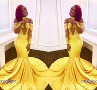 Vintage Off Shoulder Yellow Prom Dresses For Black Girl Appl...