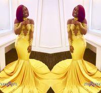Robes de bal jaune hors épaule vintage pour fille noire Appliques voir à travers de longues robes de soirée formelles
