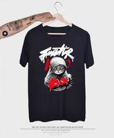 2018 nouvelle arrivée mens t shirt boxe chat bande dessinée t shirt été 3D imprimé manches courtes Tees 12 couleurs couple unisexe vêtements