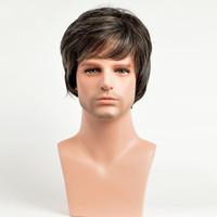Xiu Zhi Mei Heißer verkauf Gerade Kurze Synthetische Perücken Hitzebeständige Männliche Natürliche Haar Ombre Mann Perücke