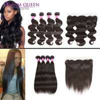 Brazilian Straight Virgin Human Hair Extensions Bundles With...