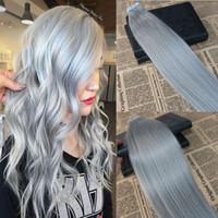 Band in Haarverlängerungen Splitterfarbe Skin Weft Band in Extensions Grau PU Gerade Band auf Haar-Verlängerungen 100g / 40pcs