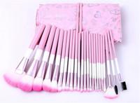 핑크 하트 가방 케이스 DHL 무료 24pcs 핑크 메이크업 브러쉬 세트 고품질 프로 홍당무 파우더 브러쉬 키트 화장품 뷰티 도구 무료