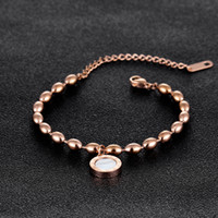 Roman Numerals Charms Bracelet Rose Gold Beads Bracelet in S...