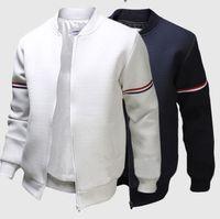 Mens Striped Solid Color Bomberjacke Mode britischen Langärmlig Außen Jacken-Mantel-Männer stehen Kragen Mantel Tops