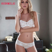 OUDOMILAI 패션 새로운 브라 세트 노블 통기성 안감은 속옷 화이트 블랙 레이스 일대일 숙녀 섹시한 란제리를 위로 밀어