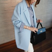 2018 Spring New Loose Street Medium per Cocoon Long Woman Pockets Large Suit Giacca da donna Blazer