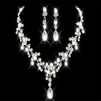Billig strass faux perlen bridal schmuck sets ohrringe halskette kristall braut prom party pageant mädchen hochzeitszubehör freies verschiffen