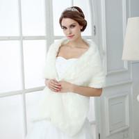 A buon mercato Wraps da sposa Faux Fur Faux Fur Fur Hollywood Glamour Giacche da sposa Style Style Cover Up Cape Stola Cappotto Stola Scolleo Scialle Shrug Bolero