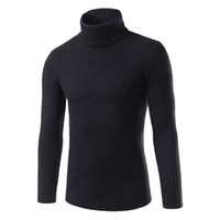 Otoño e invierno 2018 nuevos hombres marca suéter casual color sólido cuello alto de los hombres delgado de alta calidad de punto jersey M-3XL L18100803