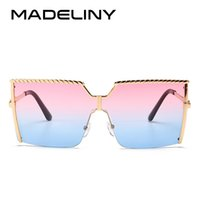 MADELINY Fashion Women Square Sunglasses Brand Design Oversi...