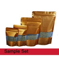 Sample Set! Reclosable Stand Up Gold Embossed Zip Lock Alumi...