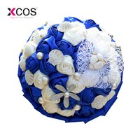Royal Blue And White Rose Flowers Wedding Bouquet Concha Estrella de mar Perlas Playa Nupcial Bouquets Holder bouquet de mariage