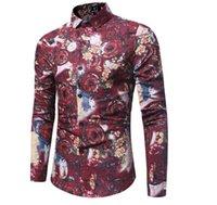 Print Fashion Trend Flower Shirt Hommes Printemps Nouveau Print Shirt Marque Vêtements Lin Casual Business Hawaiiian Manches Longues Robe Chemises