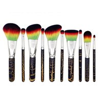 10Pcs  Lot Makeup Brushes Set Soft Synthetic Rainbow Hair Fa...