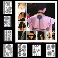 New Black Henna Lace Temporary Tattoo Waterproof Disposable ...