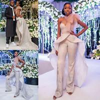 Zarif Tulumlar Overskirts Gelinlik Modelleri Sequins Sevgiliye 2019 Yeni Tasarım Akşam elbise Tulum Resmi Pantolon Parti Elbise