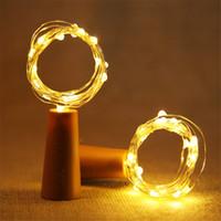 Lámpara de corcho de la botella en forma de tapón de la luz del vidrio de vino de cobre cadena luces LED de alambre para el partido de Navidad de la boda de Halloween 1M 2M 10LED 20LED