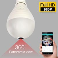 960P Cámara IP inalámbrica E27 Bombilla LED Lámpara panorámica Wi-Fi Lente FishEye Lente WIFI Cámara CCTV Seguridad para el hogar Cámaras P2P Soporte 128GB