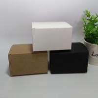 50 pcs 10 * 8 * 6 cm Branco Em Branco / Preto / Caixa De Embalagem De Papel Kraft DIY Sabão Artesanal caixas de presente de cosméticos tubos de válvula pacote