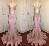 Dusty Pink Impresionantes cristales de lentejuelas de lentejuelas largas Vestidos de graduación Nuevas correas de espaguetis Mermaid Backless Vestidos de noche Formal Fiesta Use BA8240