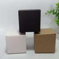 50 pcs 9 * 9 * 9 cm Branco Em Branco / Preto / Caixa De Embalagem De Papel Kraft DIY Sabão Artesanal caixas de presente de cosméticos tubos de válvula pacote