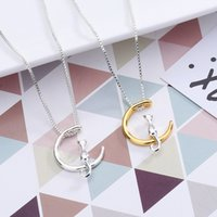 Pure silver mini simple and lovely moon cat short necklace n...