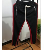 koreanische Hip Hop Mode Urban Vetements Bekleidung Bieber Jumpsuit Jogger Seitlicher Reißverschluss Track Pants Stripe Jogginghose Sear of god