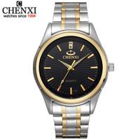 Chegada nova CHENXI Marca de Moda Correia de Ouro das Mulheres dos homens de Negócios de Quartzo Relógios Vestido de Aço Inoxidável Completa À Prova de Choque Esporte relógio de Pulso