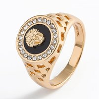 New Luxury Rings Gold Lion Head Mens Rings Mens Ring Jewelry...