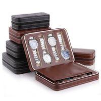 Luxe 2-8 grilles en cuir boîte de montre portable voyage sac de montre montres de stockage boîte d'affichage cas bijoux collecteur cas